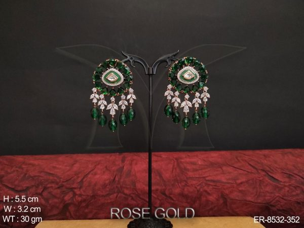 AD / Cz Full White Stones Rose Gold Polish Beautiful party wear Earrings / Tops Studs
