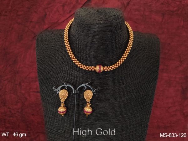 Ethnic Beaded Designer High Gold Polish Traditional Indian Choker Style Ball Chain Mala Set