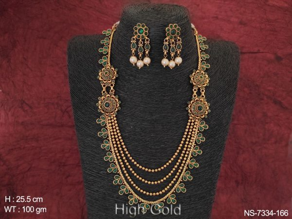 Beautiful Ethnic Beaded 4 Layer Clustered Pearl High Gold Polish Fancy Stylish Long Necklace Set