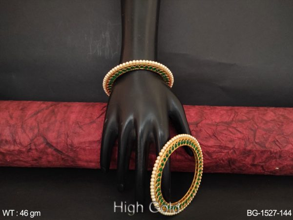 Beautiful Designer party wear Fancy Antique Clustered Pearl High Gold Polish Bangle Set of 2