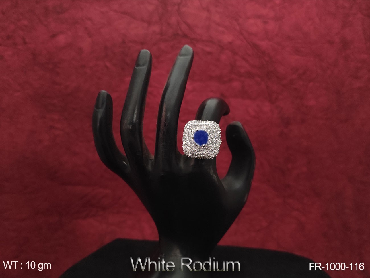 Full white AD / Cz Stones with white Rodium Beautiful Design Party wear Finger Ring