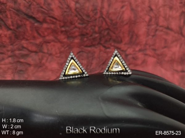 Beautiful Designer Black Rodium Full White Stones Party wear Kundan Earrings tops / Studs