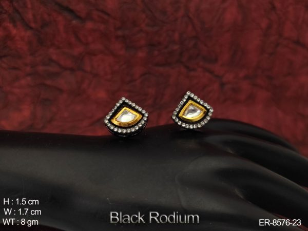 Beautiful full white stones Black Rodium Party wear Kundan Earrings Tops / Studs