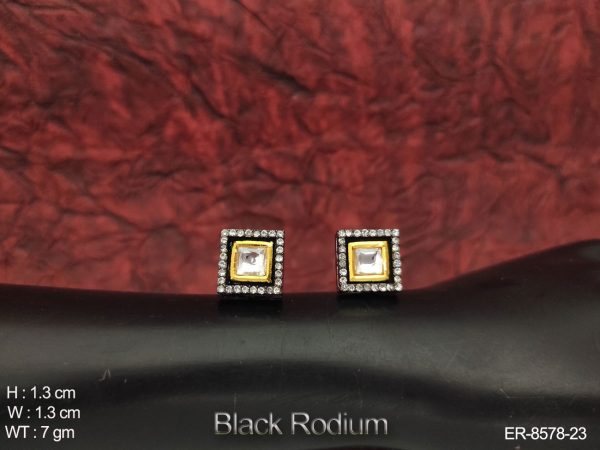 Designer Kundan Full White Stones Black Rodium Party wear Earring tops / Studs