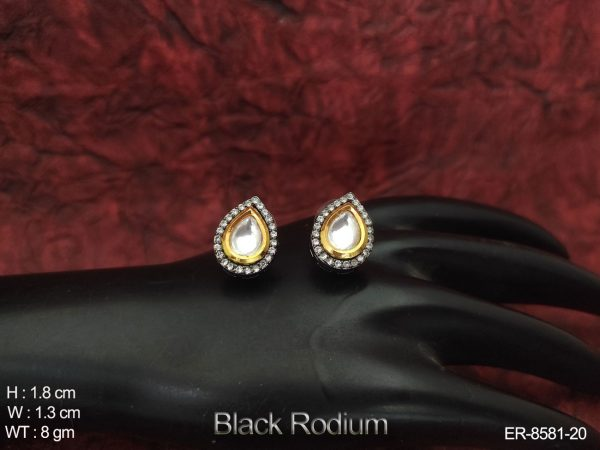 Designer fancy party wear Black Rodium Kundan Full white Stones Earring Tops / Studs