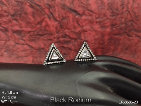Kundan Full White Stones Black Rodium polish Party wear Beautiful Tops Earring Studs