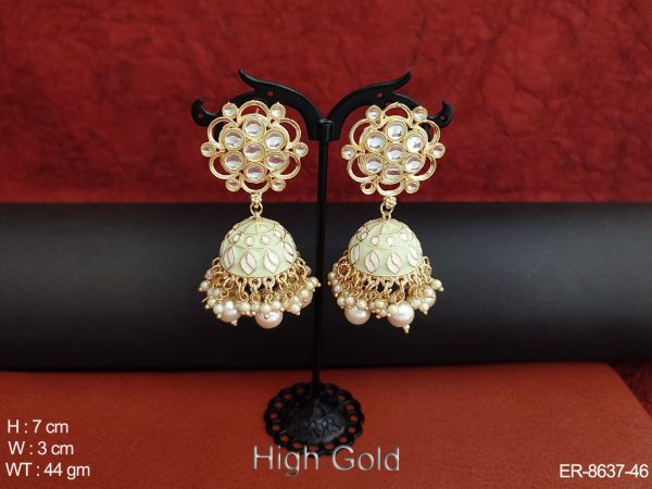 Beautiful Design Kundan White Stones High Gold Polish Party wear Fancy Style Party wear Jhumka Earring