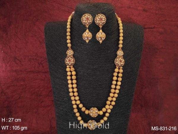 Beautiful Ball Chain Antique Ethnic Beaded High Gold Designer Fancy White Stones Long Mala Necklace Set