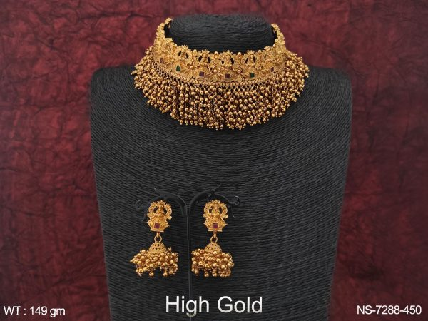 High Gold Polish Temple Laxmi Design Golden Clustered Pearl Heavy Choker Necklace Set