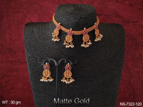 Designer Beautiful Matte Gold Clustered Pearl Fancy Temple Coin Choker Necklace Set