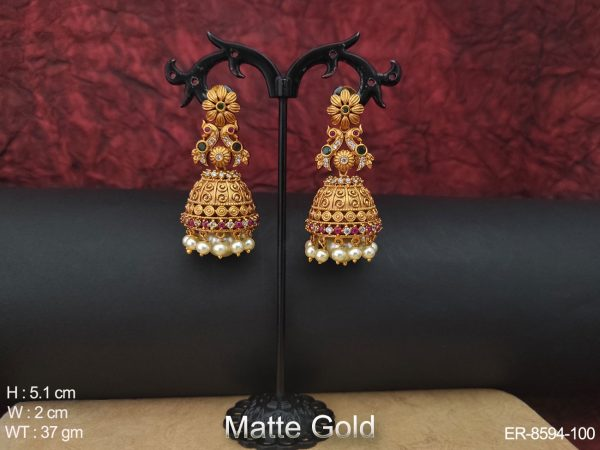 Kemp Jewelry Designer Beautiful Peacock Design Full White Stones Party wear Fancy Jhumka Earring