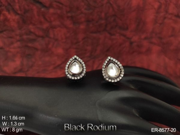Beautiful Kundan Full White Stones Black Rodium designer Earring Tops / Studs