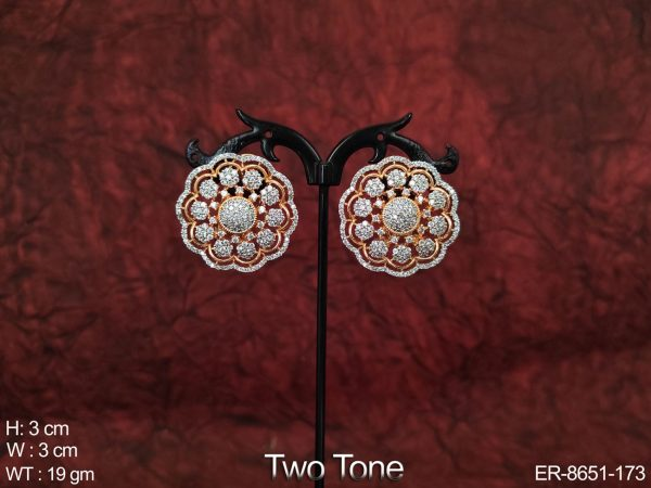 Designer Beautiful Two Tone Cz / AD Full White Stones Party wear Earring / Tops / Studs