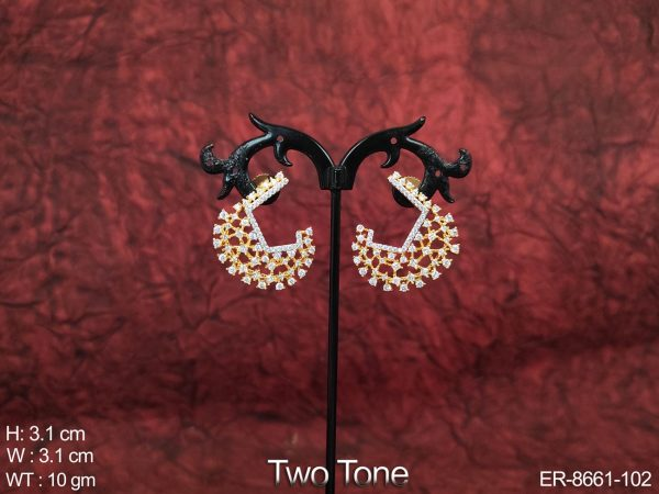Cz / AD full white Stones Beautiful Two Tone Designer Party wear Earring /Tops / Studs
