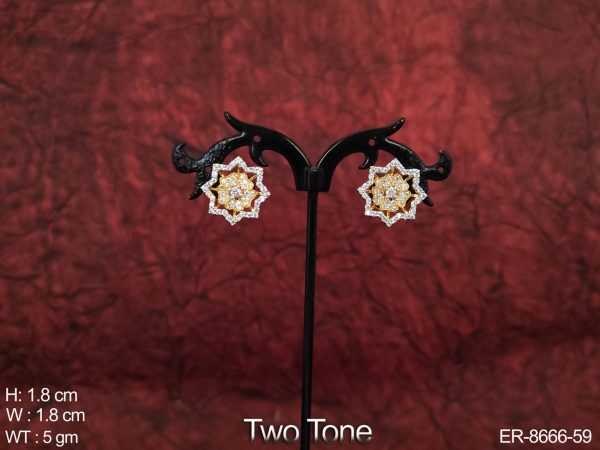 Beautiful Fancy Design Two Tone Cz / AD Full White Stones Party wear Earring / Tops / Studs