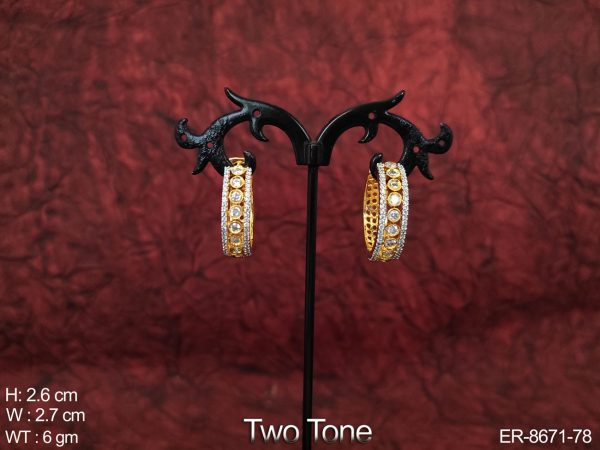 Beautiful Fancy Cz / AD full White Stones Designer Two Tone Party wear Earring / Tops / Studs