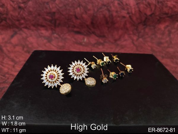 Designer Beautiful Changeable stones Cz / AD full white Stones High Gold Polish Party wear Fancy Earring / Tops / Studs
