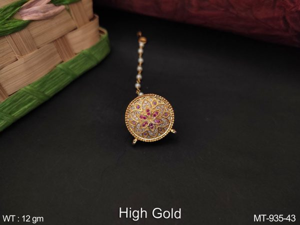 Beautiful Cz / AD full White Stones Designer Party wear High Gold Polish Maang tikka