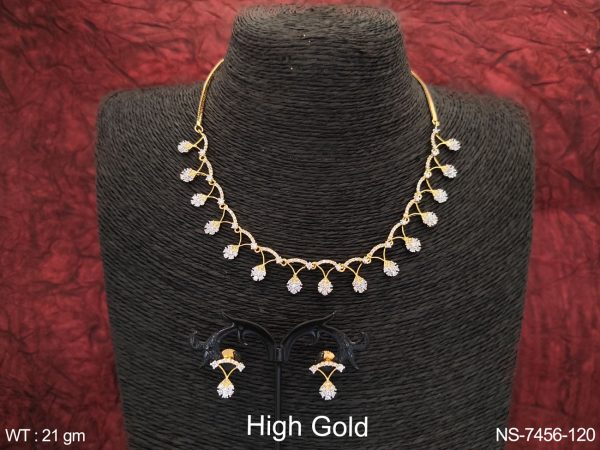 Beautiful Designer Fancy High Gold Polish Cz / AD Full white stones Party wear Necklace Set