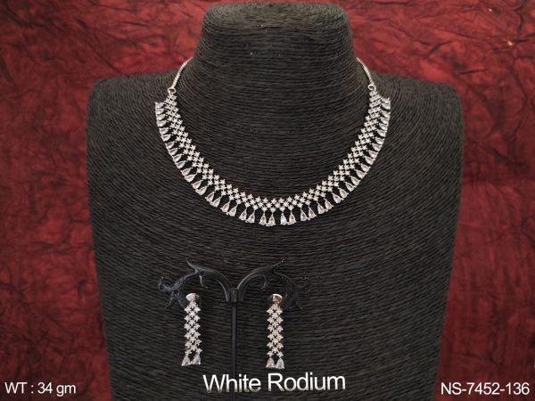 Beautiful Cz / AD full white Stones Party wear White Rodium Fancy Party wear Necklace Set