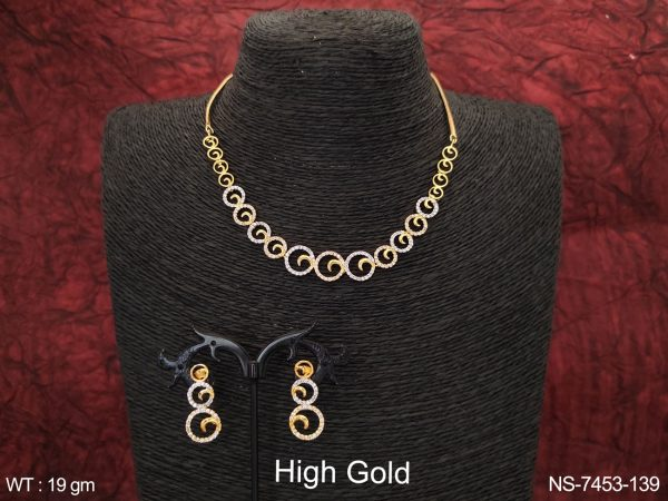 Designer Fancy Style Beautiful Cz / AD white Stones High Gold Polish Party wear Necklace Set