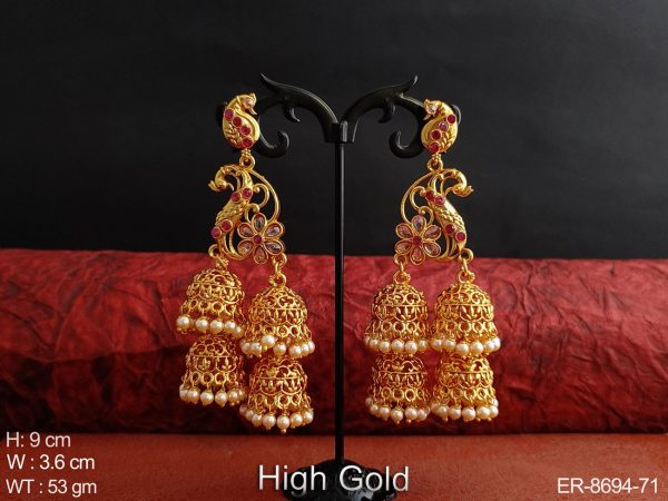 Beautiful peacock Design Antique Clustered Pearl High Gold Polish Fancy Stylish Party wear Long Jhumka Earring