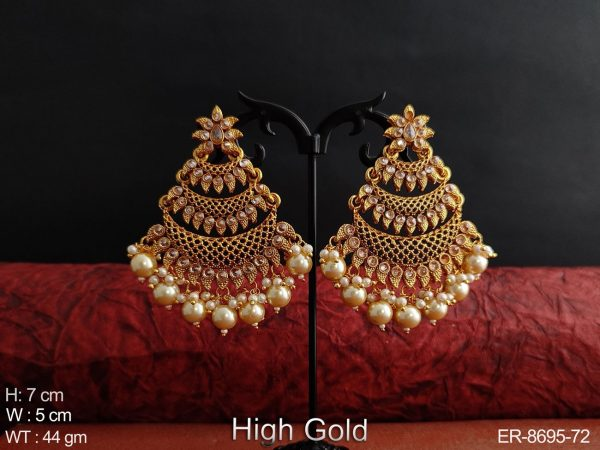 Antique Designer Fancy Stylish Clustered Pearl High gold Polish Party wear Long Earring