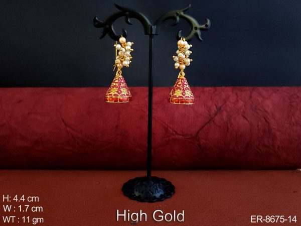 Antique Designer High Gold Polish Meenakari Design Clustered Pearl Fancy Stylish Party wear Earring