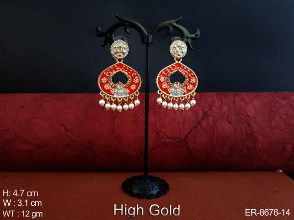 Beautiful Antique High Gold Polish Clustered Pearl Fancy Stylish Designer Party wear Earring
