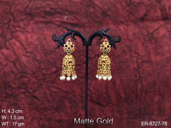 Beautiful Designer Kemp Jewelry Matte Gold Polish Fancy stylish Party wear Earring