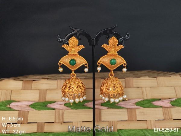 flower design matte gold polished jhumka kemp earring