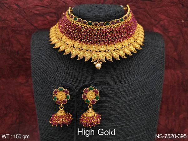 Designer Temple Jewelry High Gold Polish Laxmi Coin Ball Chain Choker Style Necklace Set