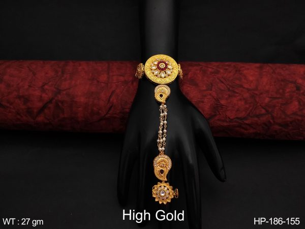 High Gold Polish Fancy Style Designer Party wear Cz / AD full white stones Beautiful Haath Paan