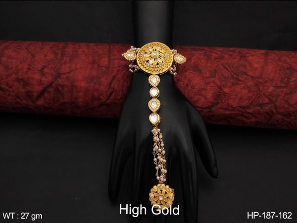Beautiful Fancy Style Cz / AD Full white Stones High Gold Polish Designer Party wear Haath Paan