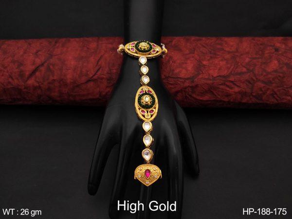 Fancy style Designer High Gold Polish Beautiful Cz / AD full white stones Party wear Haath Paan