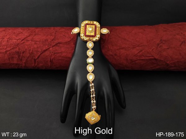Beautiful High Gold Polish Cz / AD full white stones Designer Fancy style Party wear Haath Paan