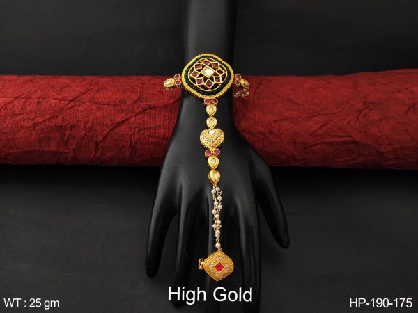Designer Fancy Style full Cz / AD Stones High Gold Polish Beautiful Party wear Haath Paan