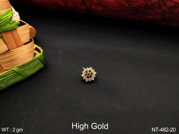 Beautiful Designer Cz / AD full white Stones High Gold Polish Fancy Style Party wear Nath