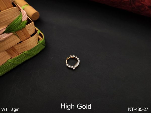 Designer Beautiful Fancy Style High Gold Polish Full White Cz / AD Stones Party wear None Ring / Nath