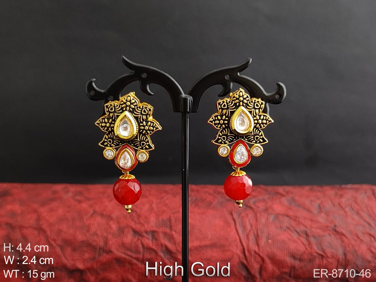 Beautiful Fancy Designer High Gold Polish white stones Clustered Pearl Party wear Drop Earring / Studs