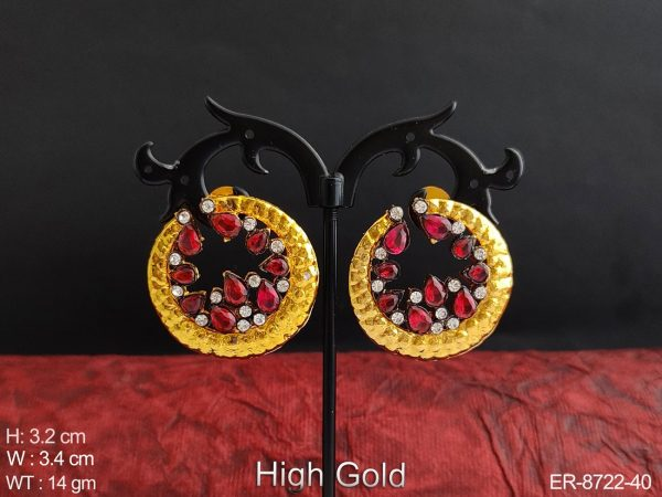 Beautiful Hight Gold Polish Designer Antique Fancy Style full white stones Party wear Earring / Studs / Tops