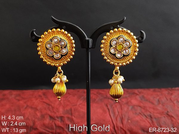 Designer Fancy Style High Gold Polish white Stones Beautiful Party wear Clustered Drop Earring / Studs / Tops