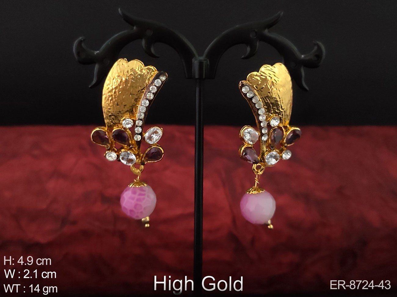 Designer High Gold Polish Fancy Style Party wear Full White Stones Antique Earring / Studs / Tops