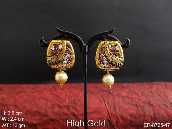 Beautiful Fancy High God Polish Designer Clustered Pearl Drop Party wear Earring / Studs / Tops
