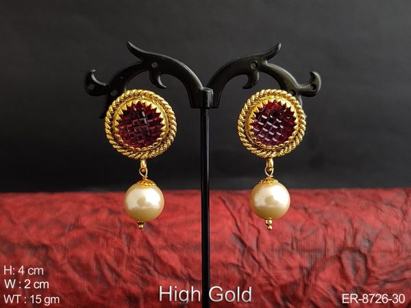 Designer Fancy Beautiful High Gold Polish Clustered Pearl Party wear Drop Earring / Studs / Tops