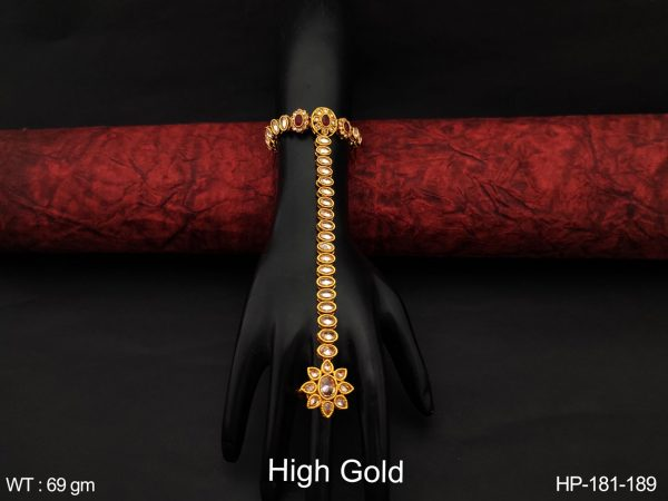 Beautiful Antique Designer High Gold Polish full white Stones fancy Style Party wear Fashion Haath Pan