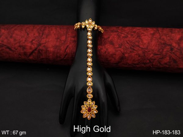 Antique Full White Stones High Gold Polish Designer Fancy Style Beautiful Party wear Haath Paan