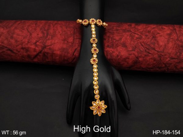 Fancy Style Beautiful High Gold Polish Full white Antique Stones Party wear Designer Haath Paan