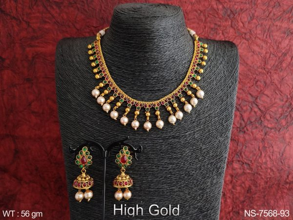 Beautiful Designer Clustered Pearl Antique Party wear Necklace Set
