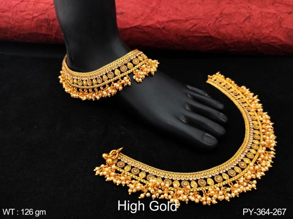 Beautiful Fancy Style Design High Gold Polish Clustered Pearl Tassels Party wear Designer Payal